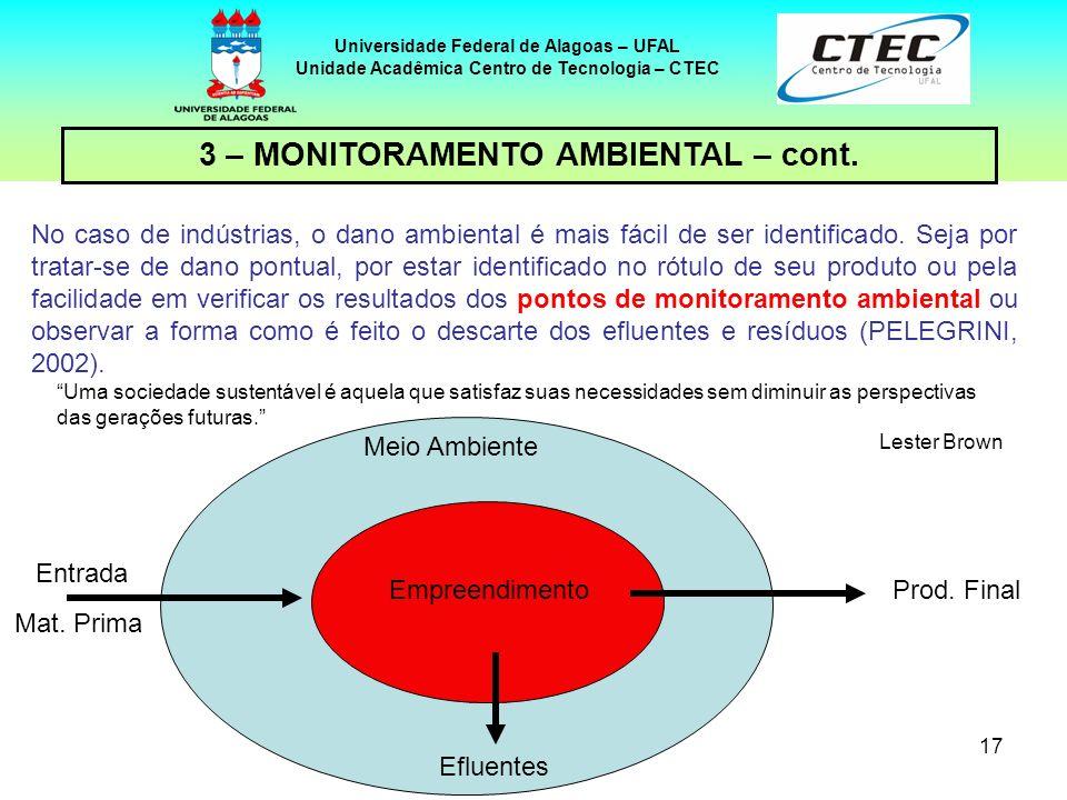 17 Universidade Federal de Alagoas – UFAL Unidade Acadêmica Centro de Tecnologia – CTEC No caso de indústrias, o dano ambiental é mais fácil de ser id