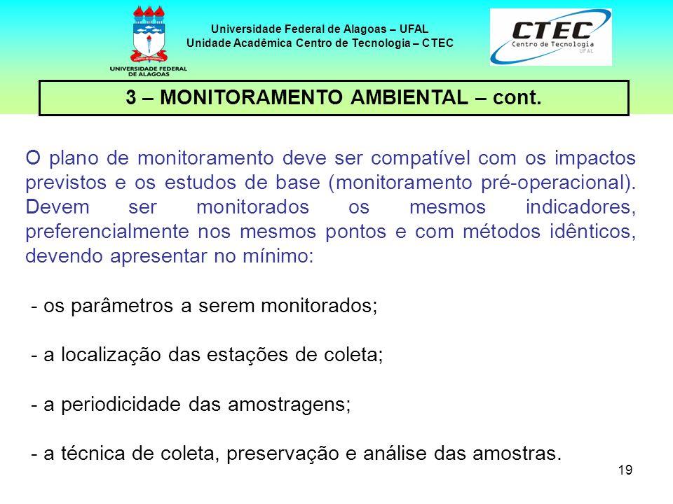19 Universidade Federal de Alagoas – UFAL Unidade Acadêmica Centro de Tecnologia – CTEC 3 – MONITORAMENTO AMBIENTAL – cont. O plano de monitoramento d