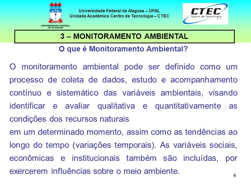 25 Universidade Federal de Alagoas – UFAL Unidade Acadêmica Centro de Tecnologia – CTEC 6 – CONSIDERAÇÕES FINAIS A gestão ambiental é hoje uma atividade cada vez mais sofisticada e há diversas ferramentas desenvolvidas para a gestão de empreendimentos e de organizações, que podem ser conjugadas e integradas à AIA (Sánchez, 2008), tais como sistemas de gestão ambiental (ISO 14.001), auditorias ambientais (ISO 19.011) e avaliação de desempenho ambiental (ISO 14.031).