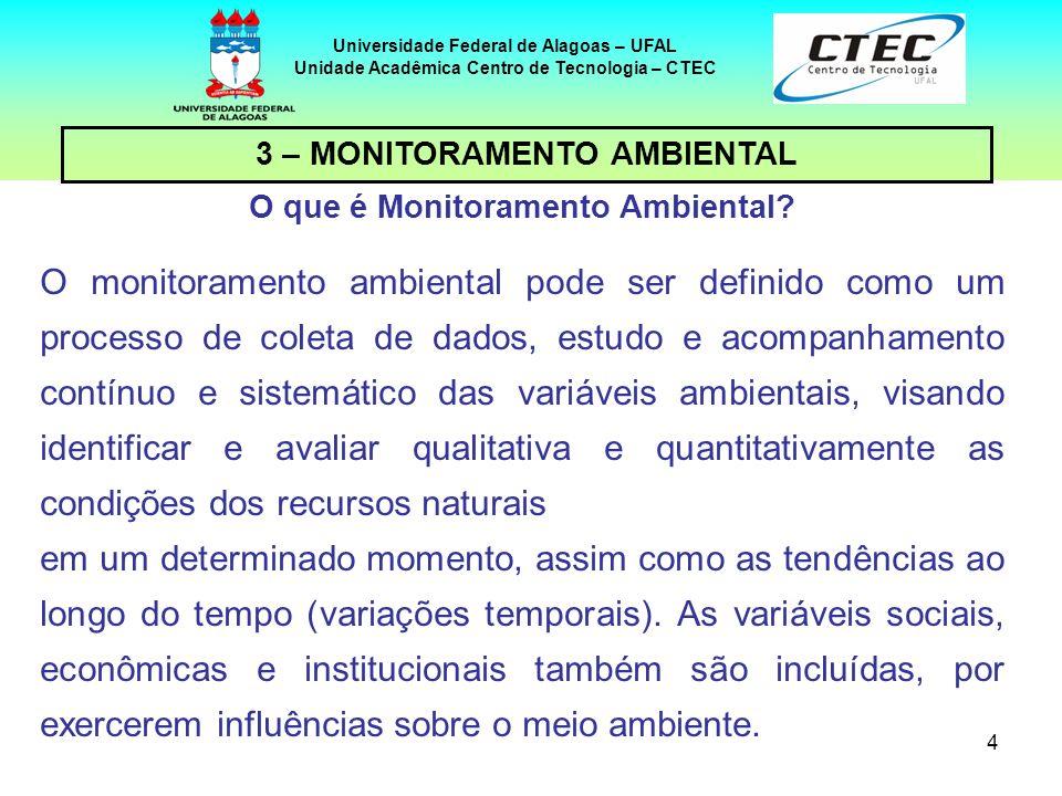 4 3 – MONITORAMENTO AMBIENTAL Universidade Federal de Alagoas – UFAL Unidade Acadêmica Centro de Tecnologia – CTEC O que é Monitoramento Ambiental? O