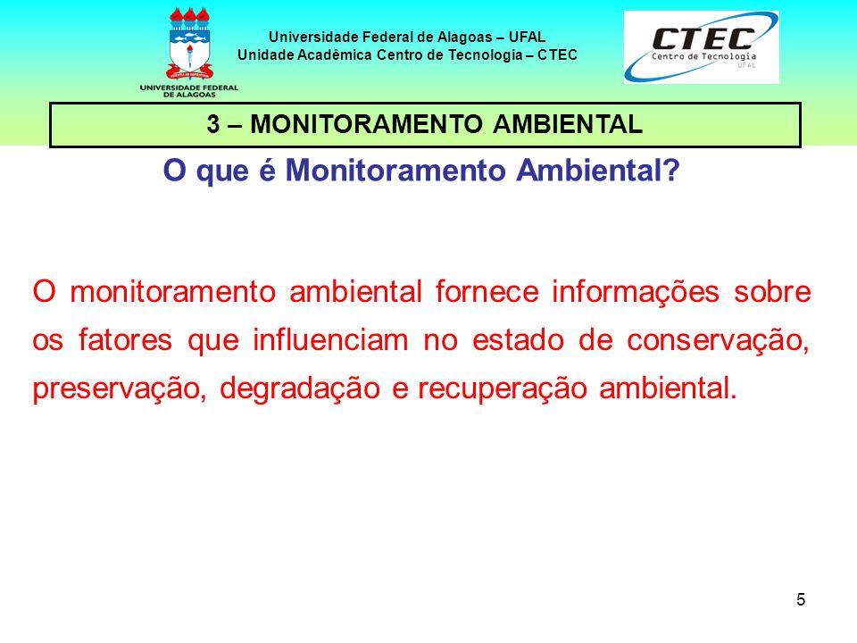 6 Universidade Federal de Alagoas – UFAL Unidade Acadêmica Centro de Tecnologia – CTEC Para que serve o Monitoramento Ambiental.