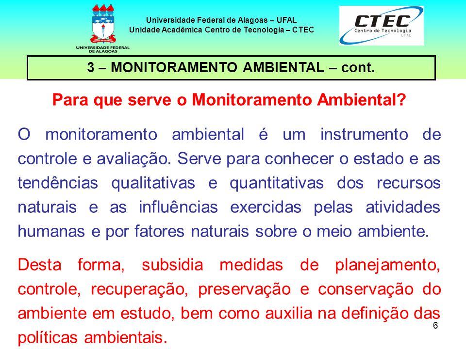 6 Universidade Federal de Alagoas – UFAL Unidade Acadêmica Centro de Tecnologia – CTEC Para que serve o Monitoramento Ambiental? O monitoramento ambie