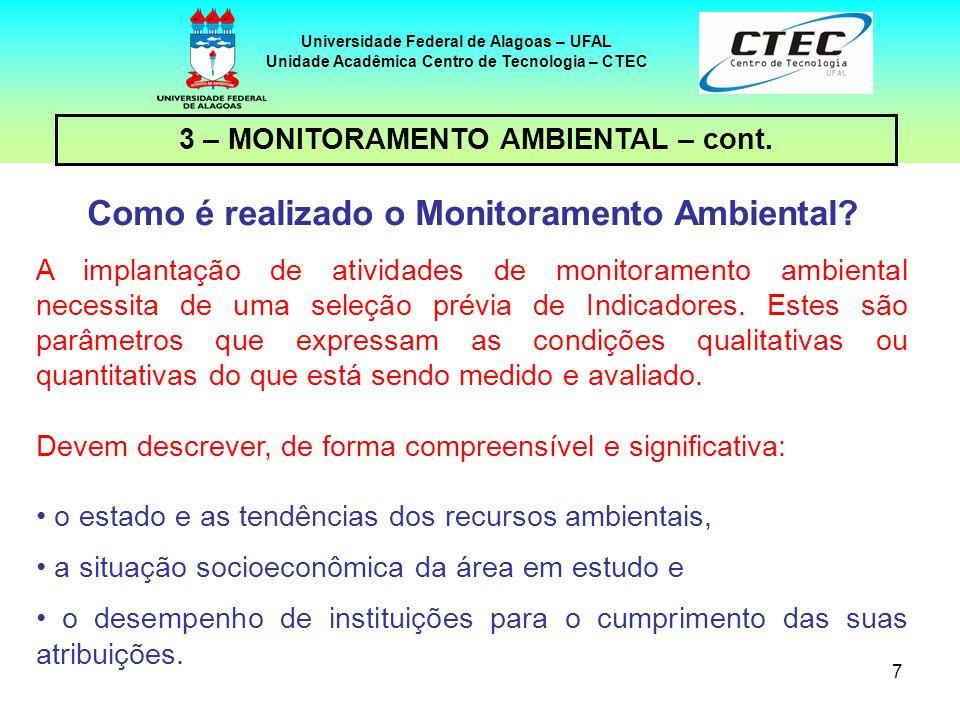 18 Universidade Federal de Alagoas – UFAL Unidade Acadêmica Centro de Tecnologia – CTEC 3 – MONITORAMENTO AMBIENTAL – cont.
