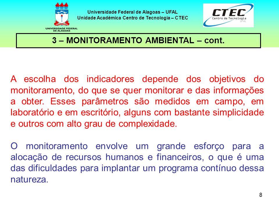 9 Universidade Federal de Alagoas – UFAL Unidade Acadêmica Centro de Tecnologia – CTEC a definição dos indicadores/ parâmetros a serem avaliados, a metodologia e os meios a utilizar, o local da amostragem ou de coleta, a freqüência da obtenção de dados, a metodologia de análise, 3 – MONITORAMENTO AMBIENTAL – cont.