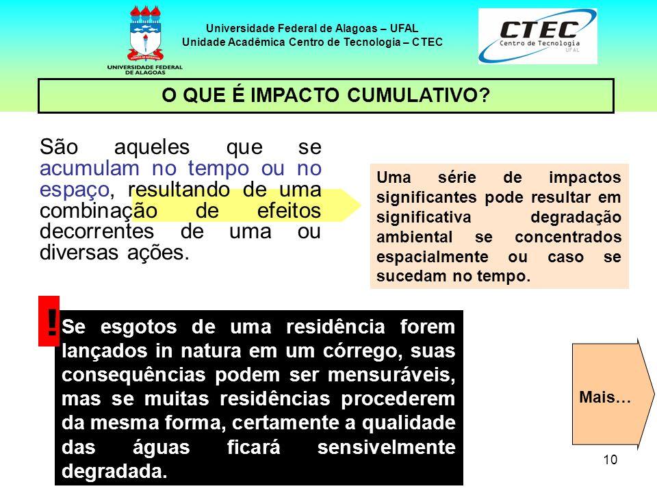 10 Universidade Federal de Alagoas – UFAL Unidade Acadêmica Centro de Tecnologia – CTEC São aqueles que se acumulam no tempo ou no espaço, resultando