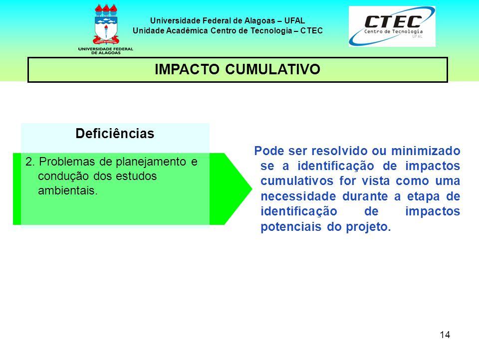 14 Deficiências 2. Problemas de planejamento e condução dos estudos ambientais. Pode ser resolvido ou minimizado se a identificação de impactos cumula