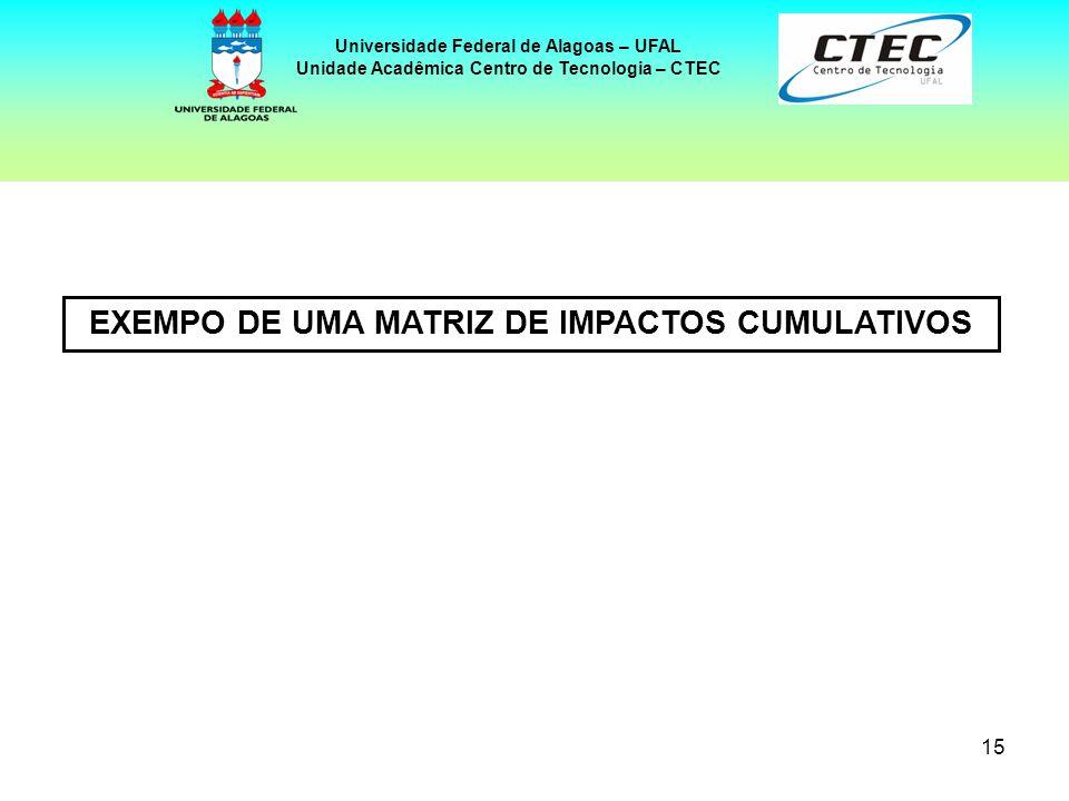 15 Universidade Federal de Alagoas – UFAL Unidade Acadêmica Centro de Tecnologia – CTEC EXEMPO DE UMA MATRIZ DE IMPACTOS CUMULATIVOS