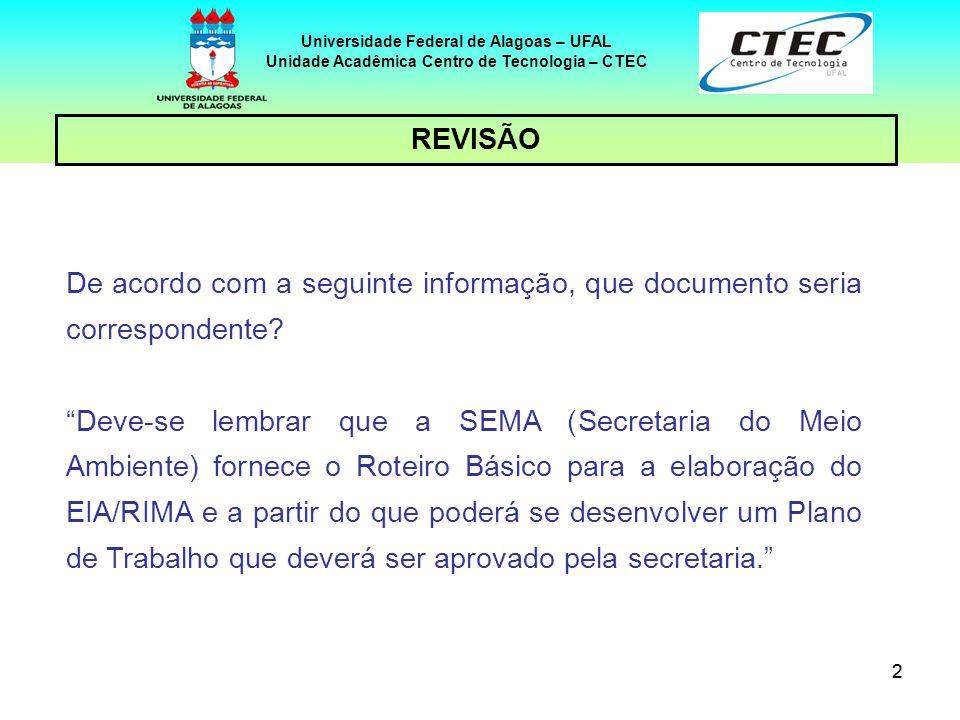 22 REVISÃO Universidade Federal de Alagoas – UFAL Unidade Acadêmica Centro de Tecnologia – CTEC De acordo com a seguinte informação, que documento ser