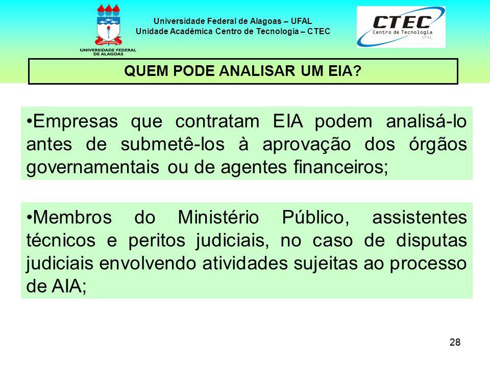 28 Universidade Federal de Alagoas – UFAL Unidade Acadêmica Centro de Tecnologia – CTEC Empresas que contratam EIA podem analisá-lo antes de submetê-l