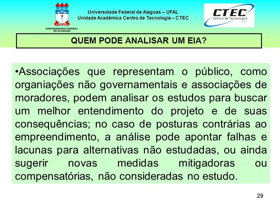 29 Universidade Federal de Alagoas – UFAL Unidade Acadêmica Centro de Tecnologia – CTEC Associações que representam o público, como organiações não go