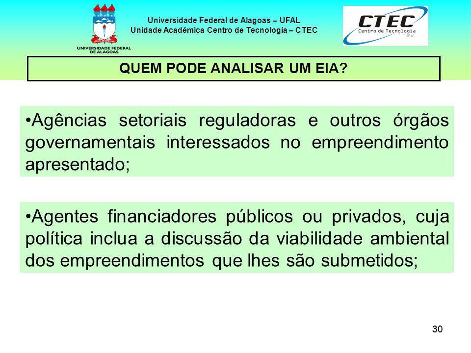 30 Universidade Federal de Alagoas – UFAL Unidade Acadêmica Centro de Tecnologia – CTEC Agências setoriais reguladoras e outros órgãos governamentais