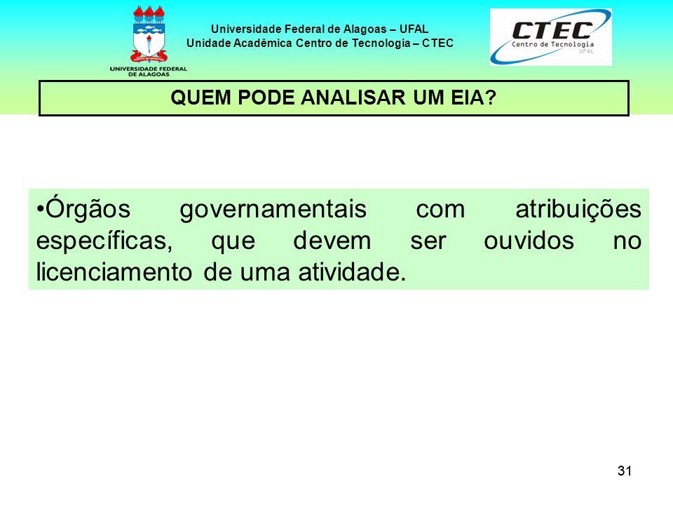 31 Universidade Federal de Alagoas – UFAL Unidade Acadêmica Centro de Tecnologia – CTEC Órgãos governamentais com atribuições específicas, que devem s
