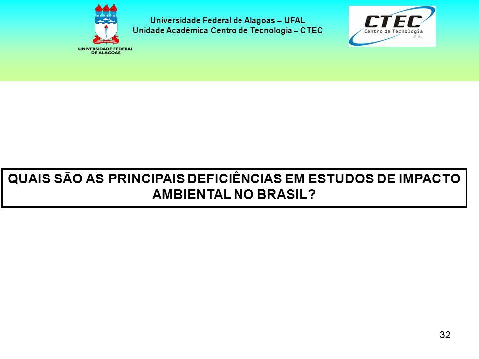 32 Universidade Federal de Alagoas – UFAL Unidade Acadêmica Centro de Tecnologia – CTEC QUAIS SÃO AS PRINCIPAIS DEFICIÊNCIAS EM ESTUDOS DE IMPACTO AMB