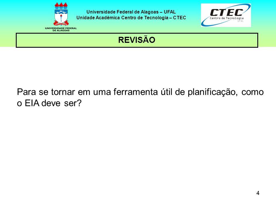 44 REVISÃO Universidade Federal de Alagoas – UFAL Unidade Acadêmica Centro de Tecnologia – CTEC Para se tornar em uma ferramenta útil de planificação,