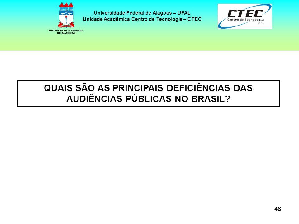 48 Universidade Federal de Alagoas – UFAL Unidade Acadêmica Centro de Tecnologia – CTEC QUAIS SÃO AS PRINCIPAIS DEFICIÊNCIAS DAS AUDIÊNCIAS PÚBLICAS N