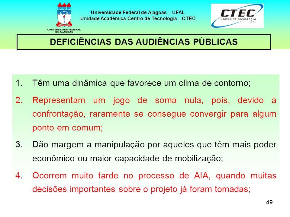 49 Universidade Federal de Alagoas – UFAL Unidade Acadêmica Centro de Tecnologia – CTEC DEFICIÊNCIAS DAS AUDIÊNCIAS PÚBLICAS 1.Têm uma dinâmica que fa