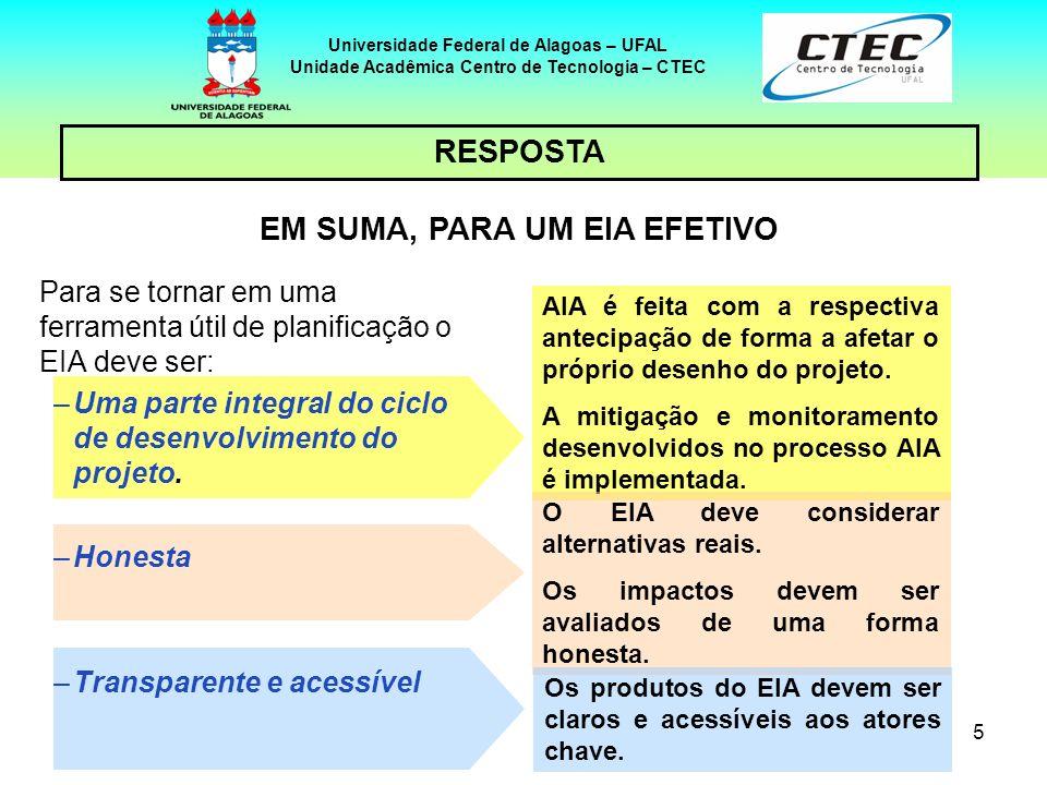 66 Segundo a Resolução do CONAMA, o RIMA deverá refletir as conclusões do EIA e conter, no mínimo: Universidade Federal de Alagoas – UFAL Unidade Acadêmica Centro de Tecnologia – CTEC RELATÓRIO DE IMPACTO AMBIENTAL – cont.