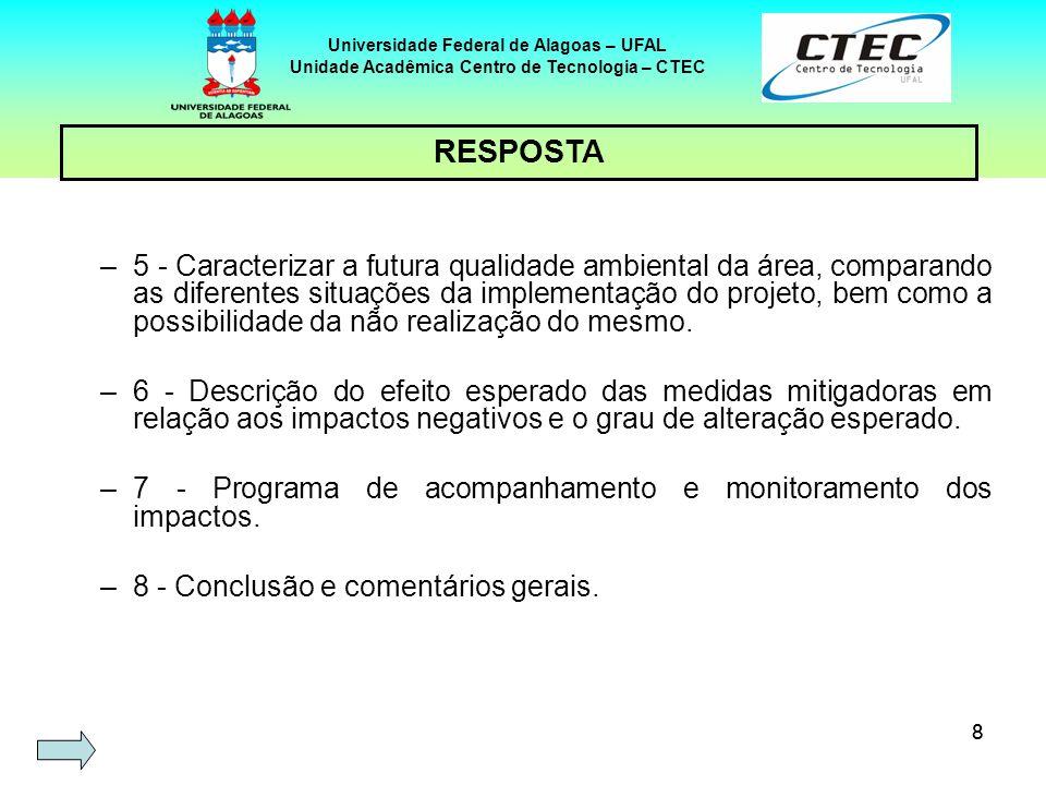 39 Universidade Federal de Alagoas – UFAL Unidade Acadêmica Centro de Tecnologia – CTEC DEFICIÊNCIAS EM ESTUDOS DE IMPACTO AMBIENTAL NO BRASIL Elemento do EIAPrincipais deficiências Cumulativos e sinergia de impactos Aspectos desconsiderados.