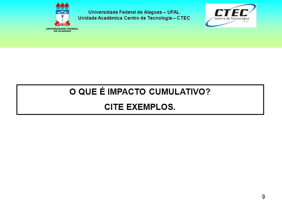 10 Universidade Federal de Alagoas – UFAL Unidade Acadêmica Centro de Tecnologia – CTEC São aqueles que se acumulam no tempo ou no espaço, resultando de uma combinação de efeitos decorrentes de uma ou diversas ações.