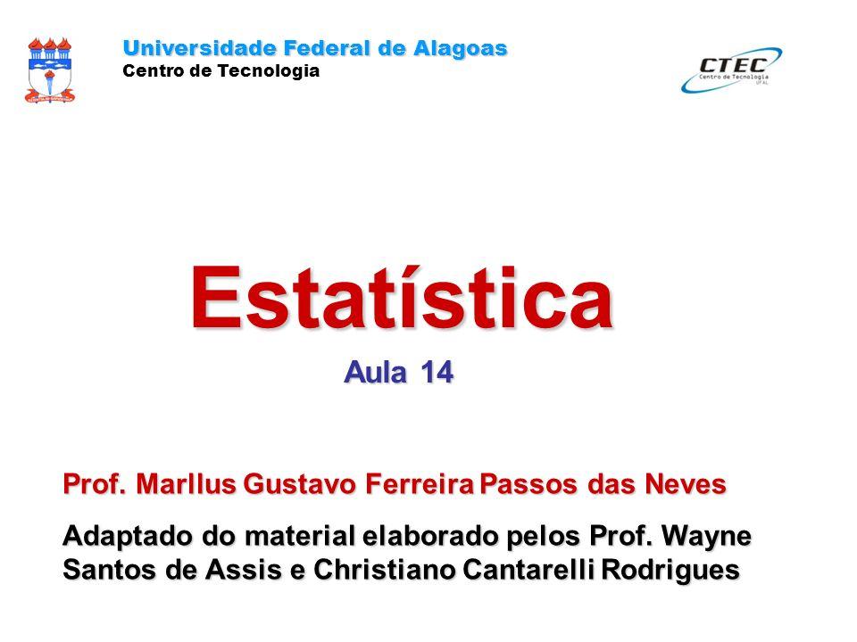 Estatística Aula 14 Universidade Federal de Alagoas Centro de Tecnologia Prof. Marllus Gustavo Ferreira Passos das Neves Adaptado do material elaborad