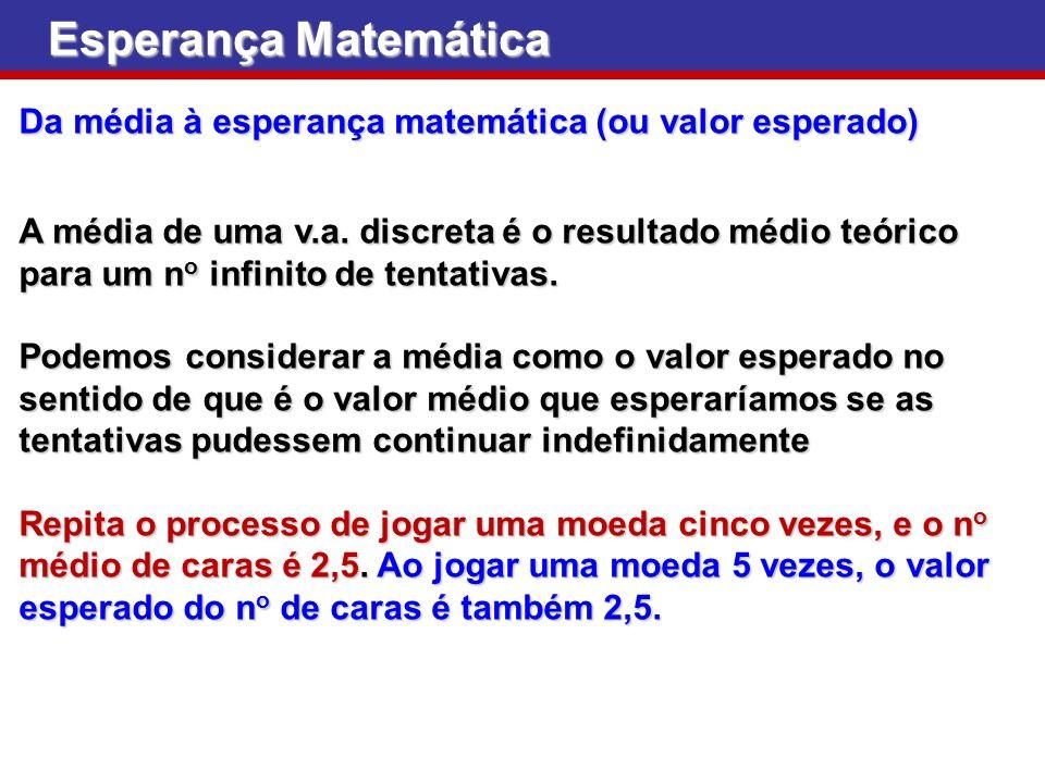 Esperança Matemática Da média à esperança matemática (ou valor esperado) A média de uma v.a. discreta é o resultado médio teórico para um n o infinito