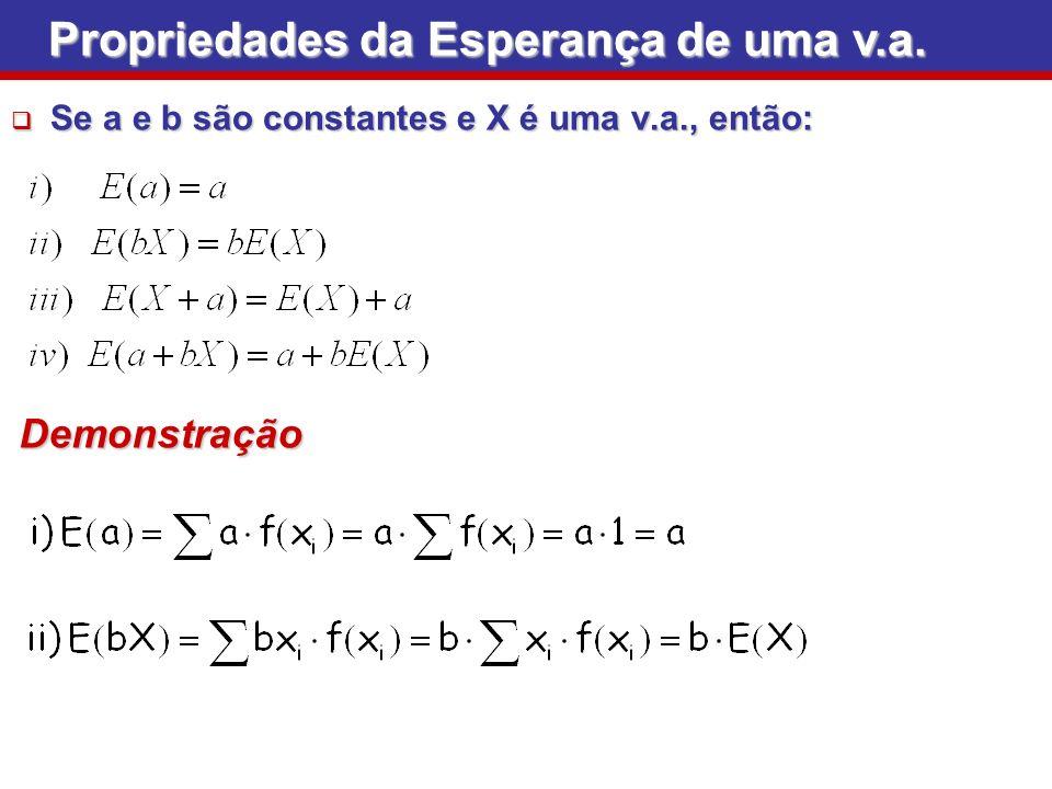 Se a e b são constantes e X é uma v.a., então: Se a e b são constantes e X é uma v.a., então: Propriedades da Esperança de uma v.a. Demonstração
