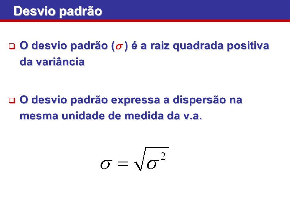 O desvio padrão ( ) é a raiz quadrada positiva da variância O desvio padrão ( ) é a raiz quadrada positiva da variância O desvio padrão expressa a dis