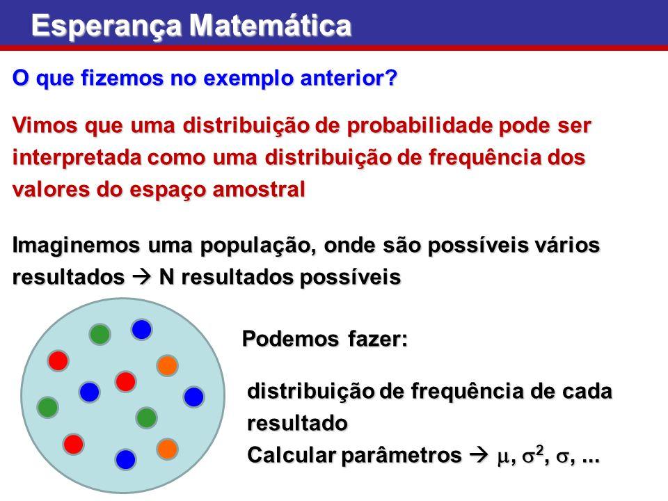 Esperança Matemática O que fizemos no exemplo anterior? Vimos que uma distribuição de probabilidade pode ser interpretada como uma distribuição de fre