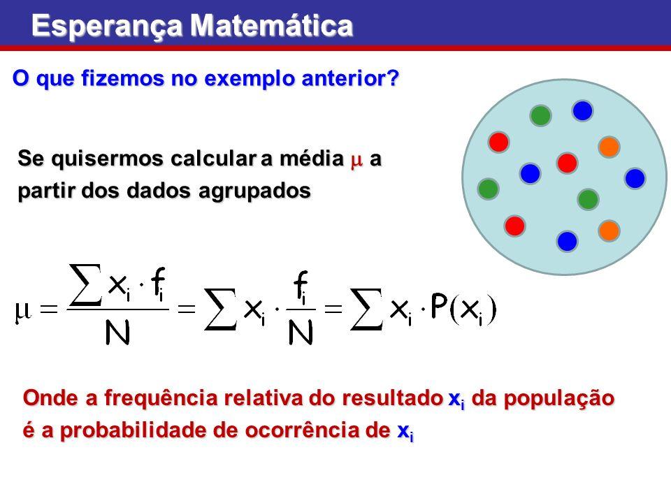 Esperança Matemática Se quisermos calcular a média a partir dos dados agrupados Onde a frequência relativa do resultado x i da população é a probabili
