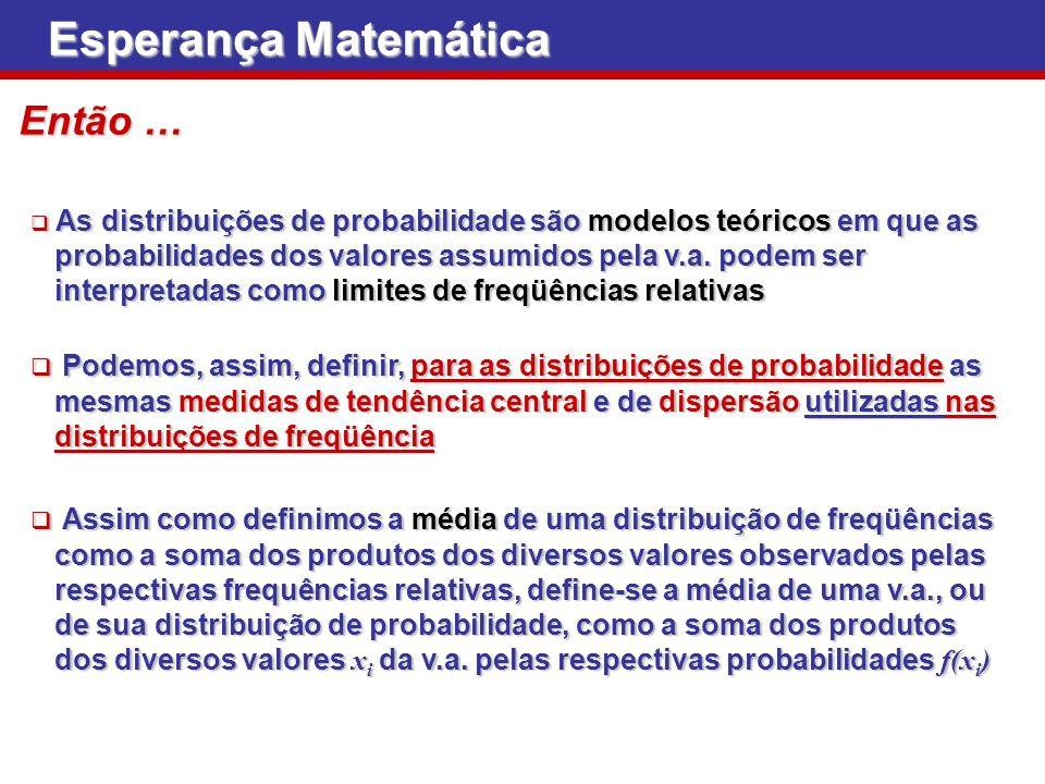 Esperança Matemática As distribuições de probabilidade são modelos teóricos em que as As distribuições de probabilidade são modelos teóricos em que as