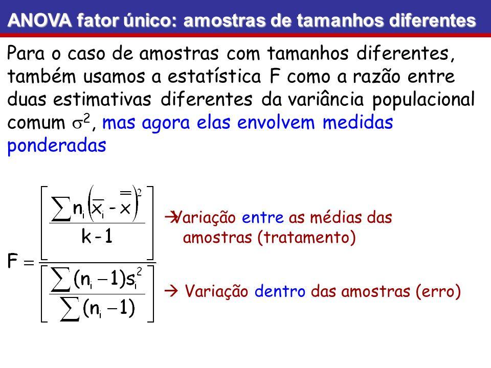 ANOVA fator único: amostras de tamanhos diferentes Para o caso de amostras com tamanhos diferentes, também usamos a estatística F como a razão entre d