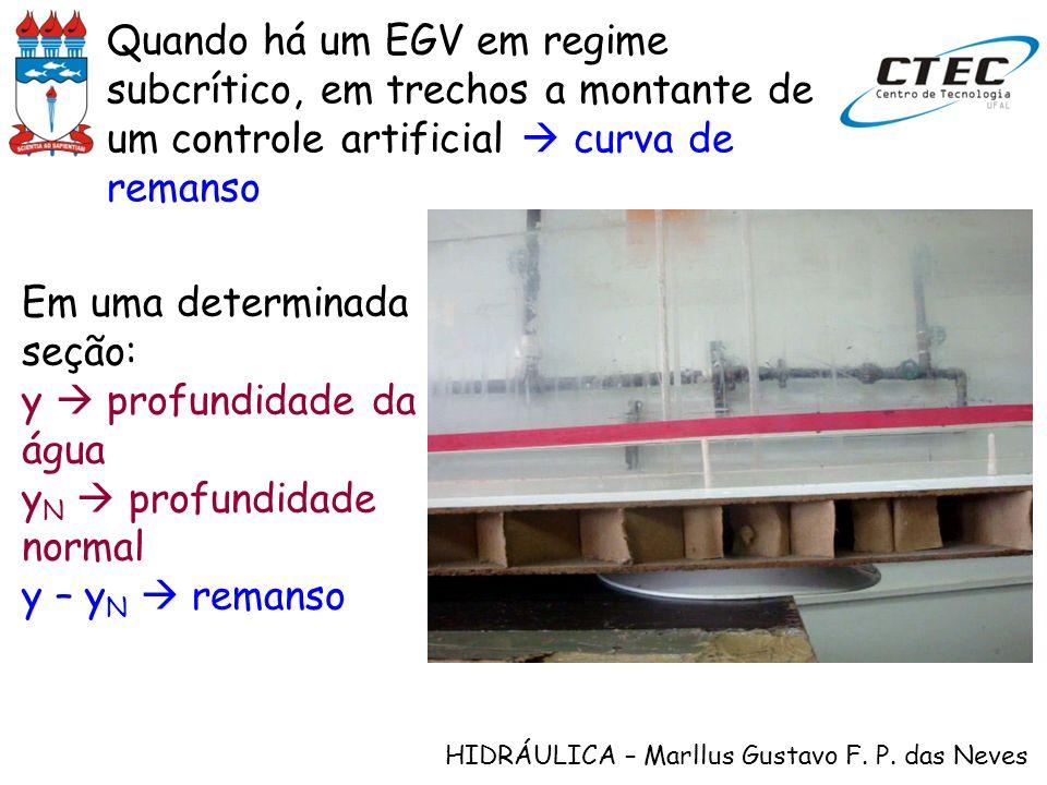 HIDRÁULICA – Marllus Gustavo F. P. das Neves Quando há um EGV em regime subcrítico, em trechos a montante de um controle artificial curva de remanso E