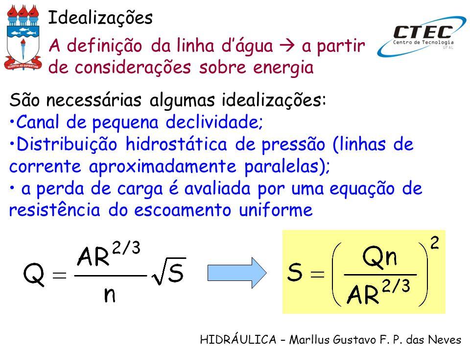 HIDRÁULICA – Marllus Gustavo F. P. das Neves A definição da linha dágua a partir de considerações sobre energia Idealizações São necessárias algumas i