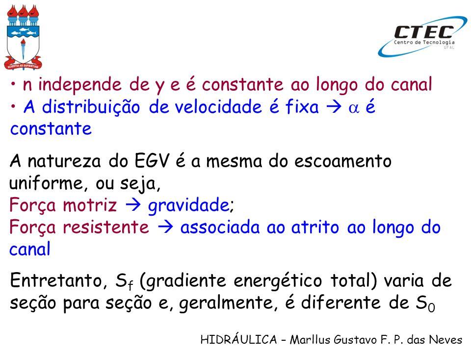 HIDRÁULICA – Marllus Gustavo F. P. das Neves Equação diferencial do EGV