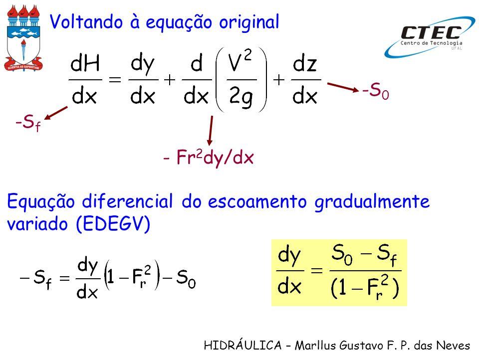 HIDRÁULICA – Marllus Gustavo F. P. das Neves Voltando à equação original -S f - Fr 2 dy/dx -S 0 Equação diferencial do escoamento gradualmente variado