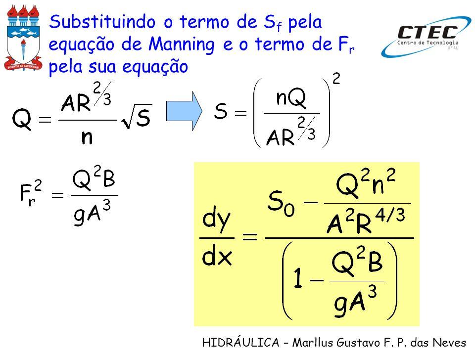 HIDRÁULICA – Marllus Gustavo F. P. das Neves Substituindo o termo de S f pela equação de Manning e o termo de F r pela sua equação