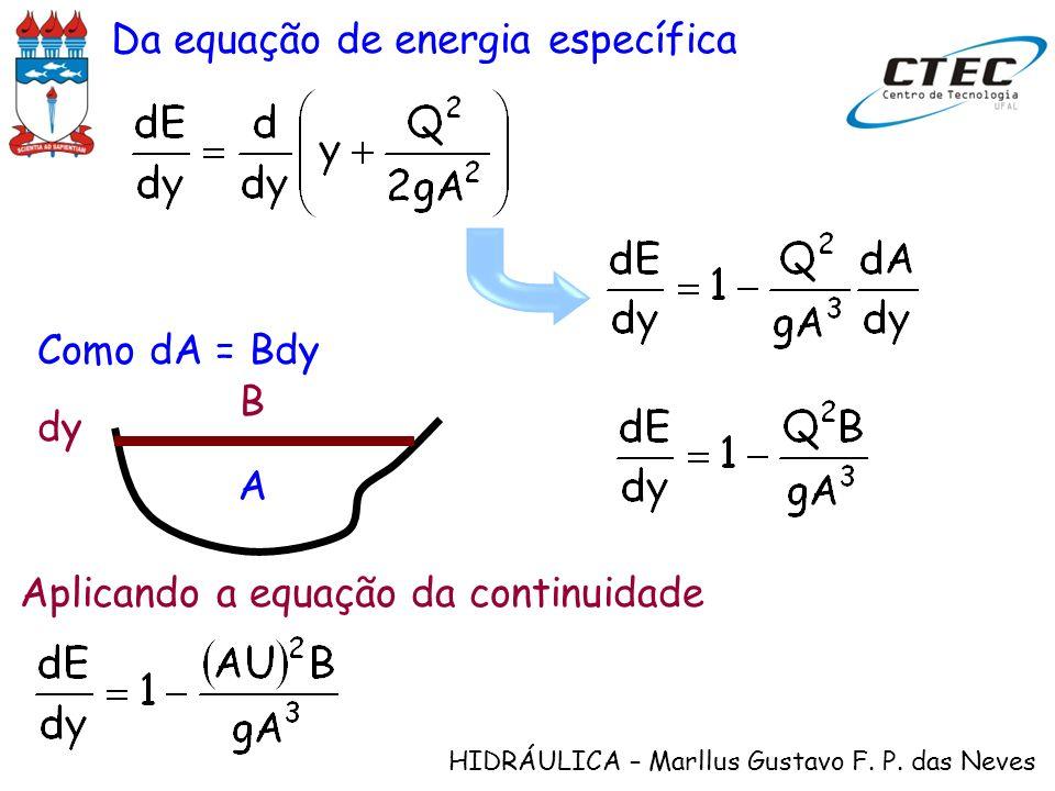 HIDRÁULICA – Marllus Gustavo F. P. das Neves Da equação de energia específica B dy A Como dA = Bdy Aplicando a equação da continuidade