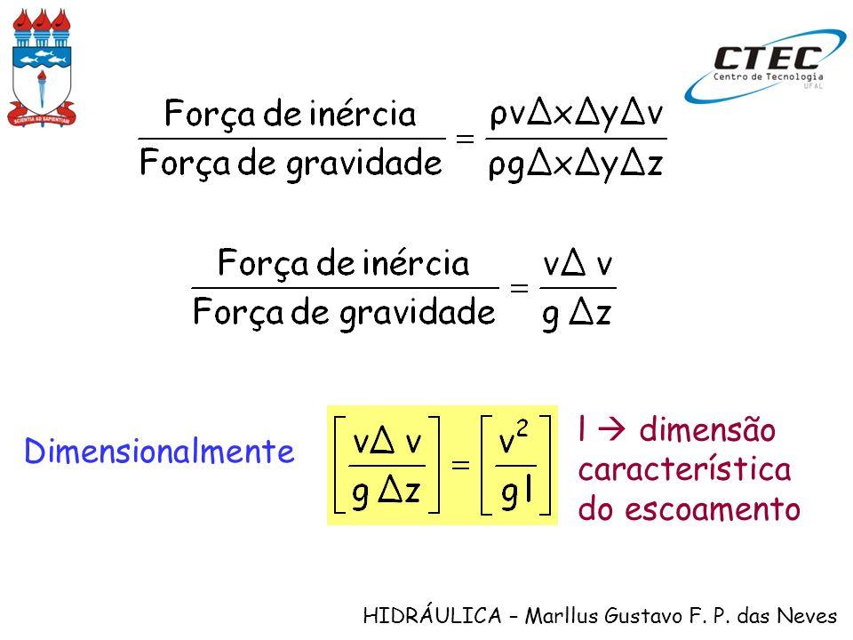HIDRÁULICA – Marllus Gustavo F. P. das Neves Dimensionalmente l dimensão característica do escoamento