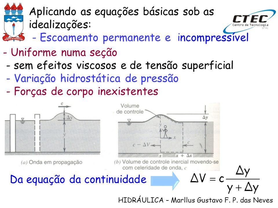 HIDRÁULICA – Marllus Gustavo F. P. das Neves Aplicando as equações básicas sob as idealizações: - Escoamento permanente e incompressível Da equação da