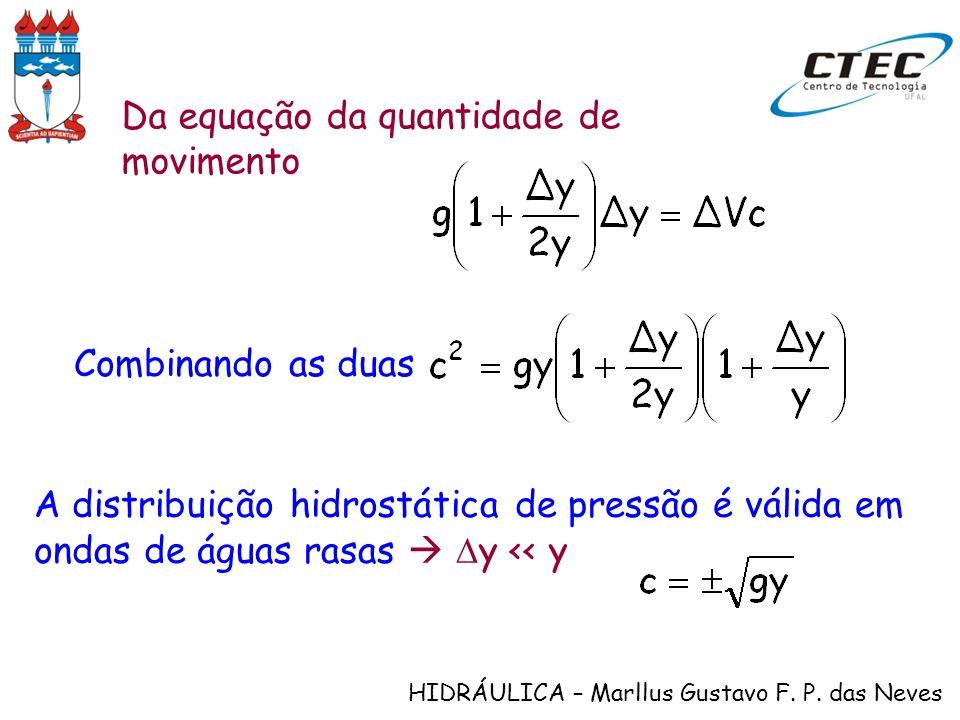 HIDRÁULICA – Marllus Gustavo F. P. das Neves Da equação da quantidade de movimento Combinando as duas A distribuição hidrostática de pressão é válida