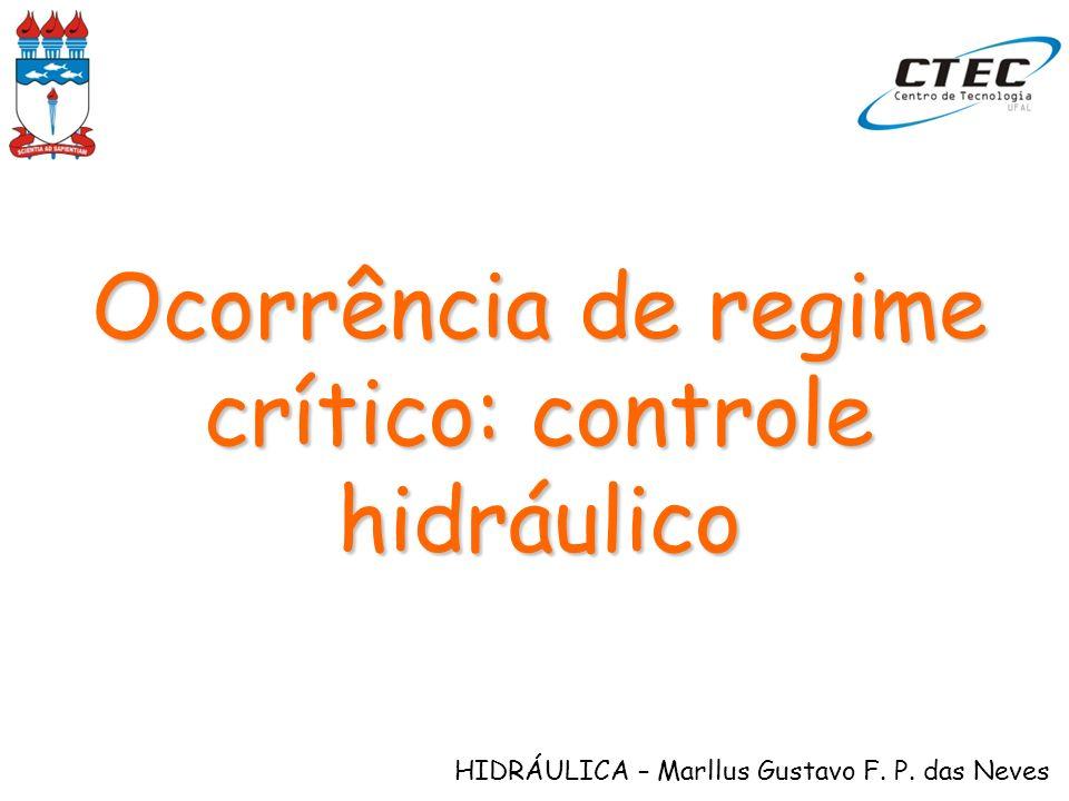 HIDRÁULICA – Marllus Gustavo F. P. das Neves Ocorrência de regime crítico: controle hidráulico