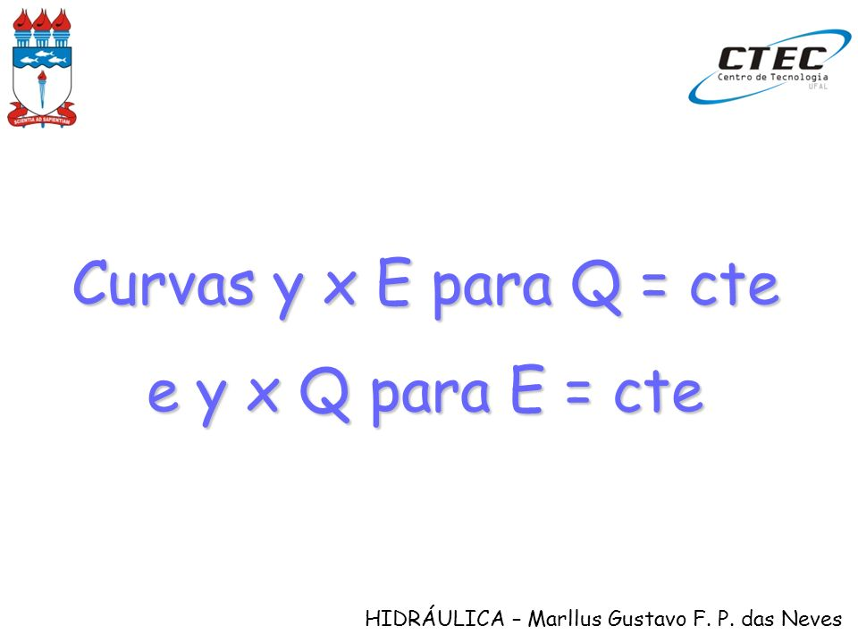 HIDRÁULICA – Marllus Gustavo F. P. das Neves Curvas y x E para Q = cte e y x Q para E = cte