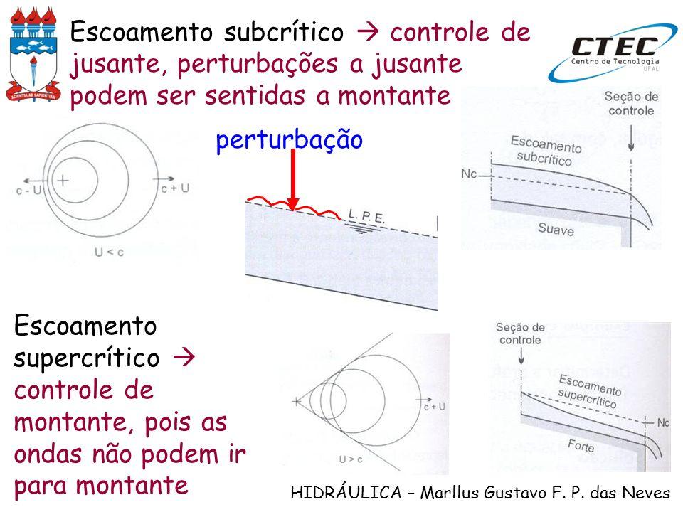 HIDRÁULICA – Marllus Gustavo F. P. das Neves Escoamento subcrítico controle de jusante, perturbações a jusante podem ser sentidas a montante perturbaç