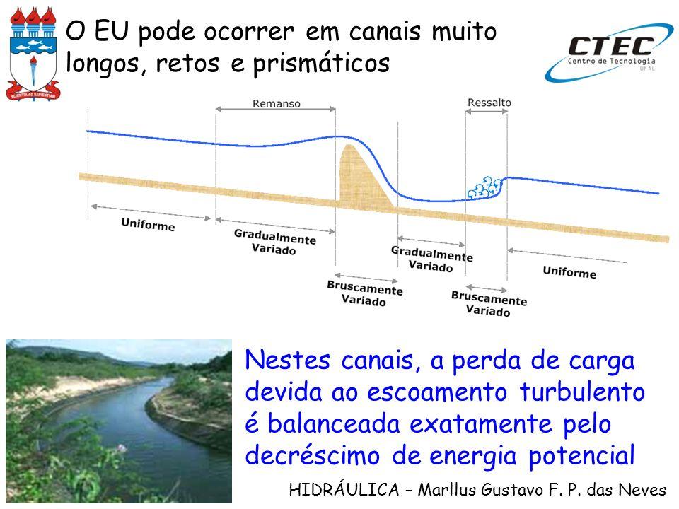 HIDRÁULICA – Marllus Gustavo F. P. das Neves O EU pode ocorrer em canais muito longos, retos e prismáticos Nestes canais, a perda de carga devida ao e
