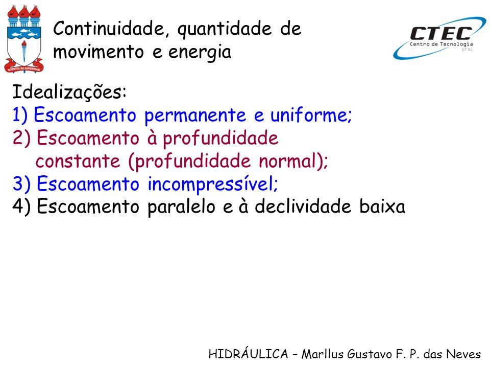 HIDRÁULICA – Marllus Gustavo F. P. das Neves Idealizações: 1) Escoamento permanente e uniforme; 2) Escoamento à profundidade constante (profundidade n