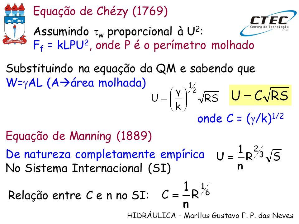HIDRÁULICA – Marllus Gustavo F. P. das Neves Assumindo w proporcional à U 2 : F f = kLPU 2, onde P é o perímetro molhado Equação de Chézy (1769) Subst