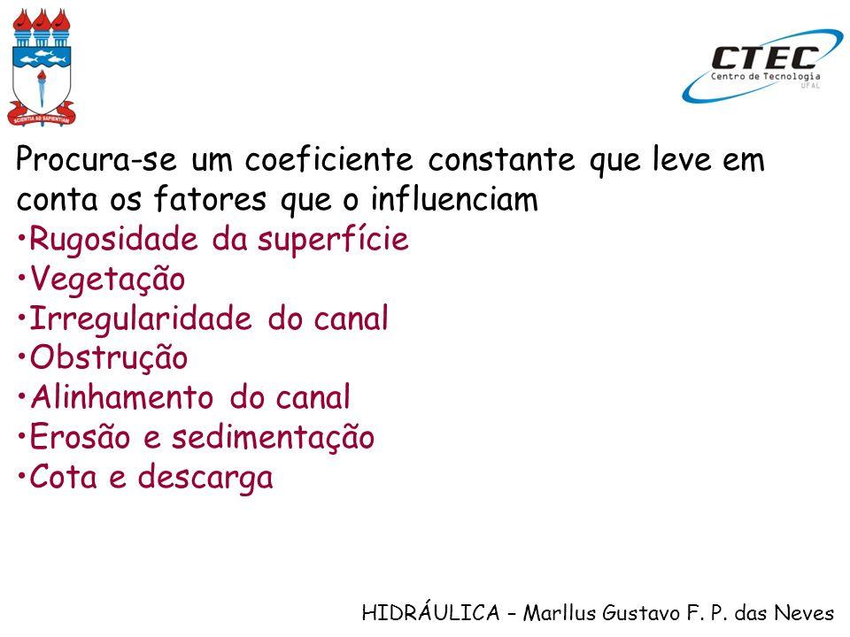 HIDRÁULICA – Marllus Gustavo F. P. das Neves Procura-se um coeficiente constante que leve em conta os fatores que o influenciam Rugosidade da superfíc