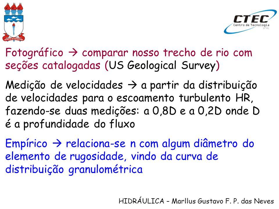 HIDRÁULICA – Marllus Gustavo F. P. das Neves Fotográfico comparar nosso trecho de rio com seções catalogadas (US Geological Survey) Medição de velocid