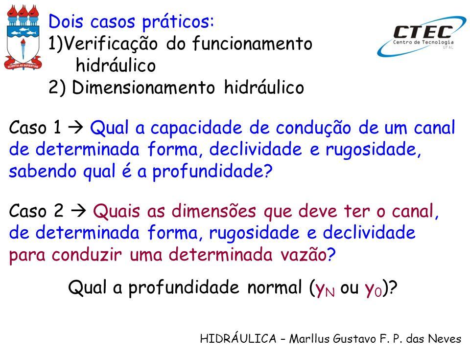 HIDRÁULICA – Marllus Gustavo F. P. das Neves Dois casos práticos: 1)Verificação do funcionamento hidráulico 2) Dimensionamento hidráulico Caso 1 Qual