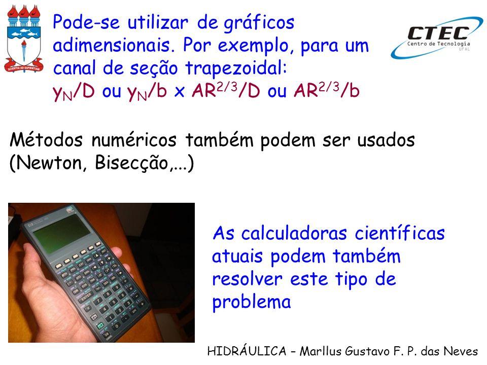 HIDRÁULICA – Marllus Gustavo F. P. das Neves Pode-se utilizar de gráficos adimensionais. Por exemplo, para um canal de seção trapezoidal: y N /D ou y